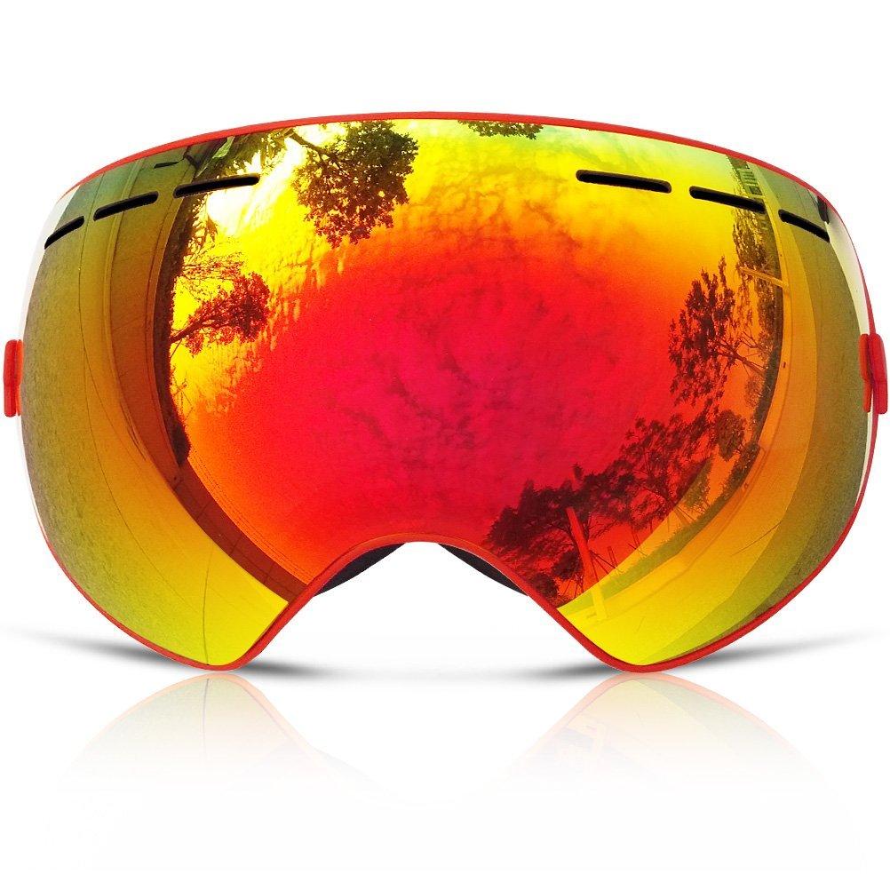 Snowboard Occhiali Da Sci Con Un Anti Nebbia Patinata Unisex (Rosso)