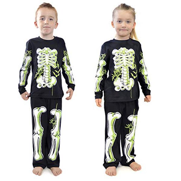 Pigiama Bambini In Cotone Scheletro Glow In The Dark