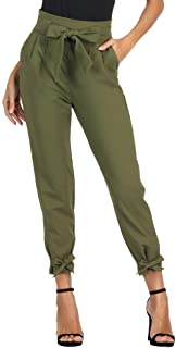 Pantaloni Donna Con Fiocco A Vita Alta