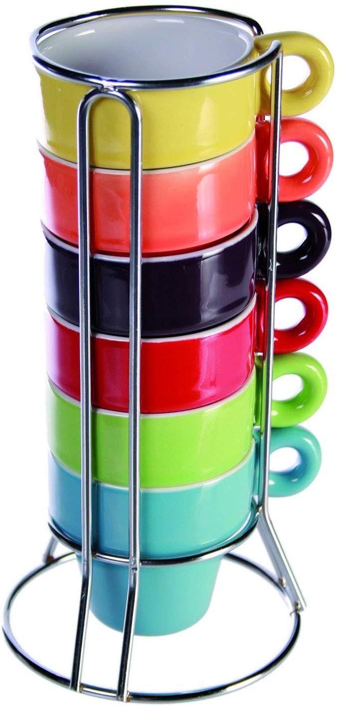 Espresso Tazzine Da Caffè, Ceramica, Colorato, 5.4×5.4×5.5 Cm