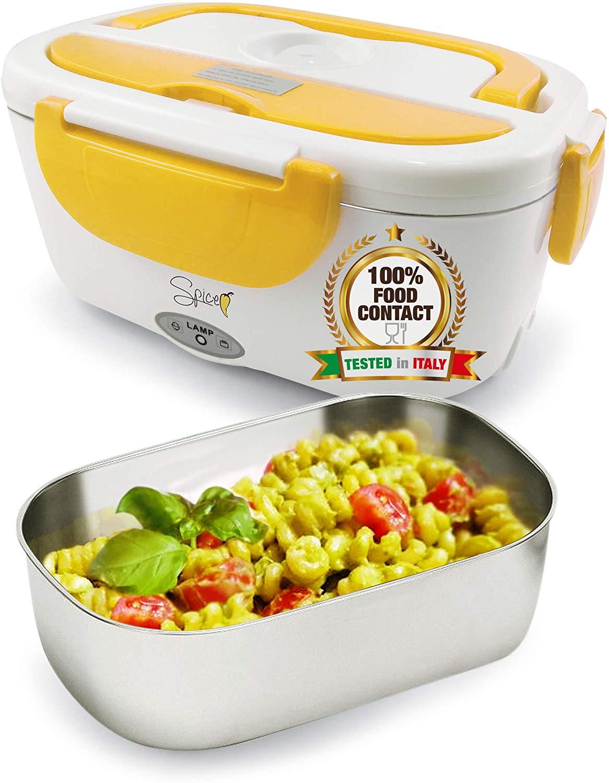 Scaldavivande Portatile Lunch Box Con Vaschetta Estraibile In Acciaio Inox Giallo 40 W 1,5 Litri