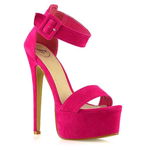 Sandali Alti Con Tacco A Spillo E Cinturino Caviglia Open Toe