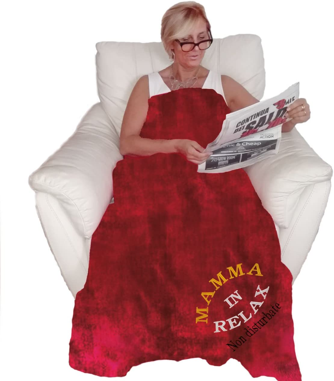"Coperta Plaid ""Mamma In Relax. Non Disturbare"""