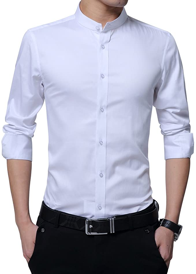 Camicia Da Uomo, Colletto Alto, Slim Fit, A Maniche Lunghe