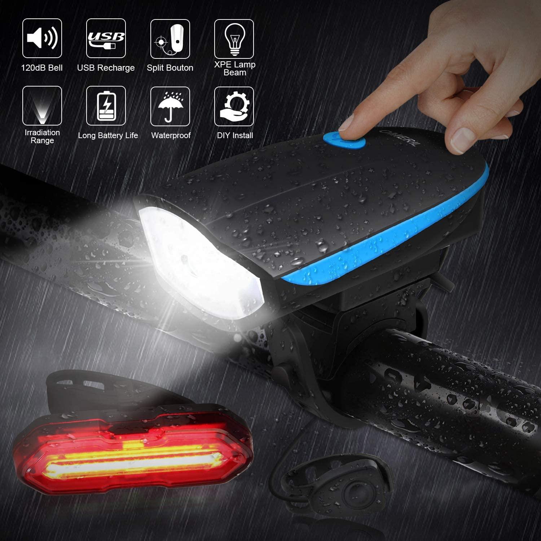 Luci Bicicletta LED Ricaricabili USB Con Clacson