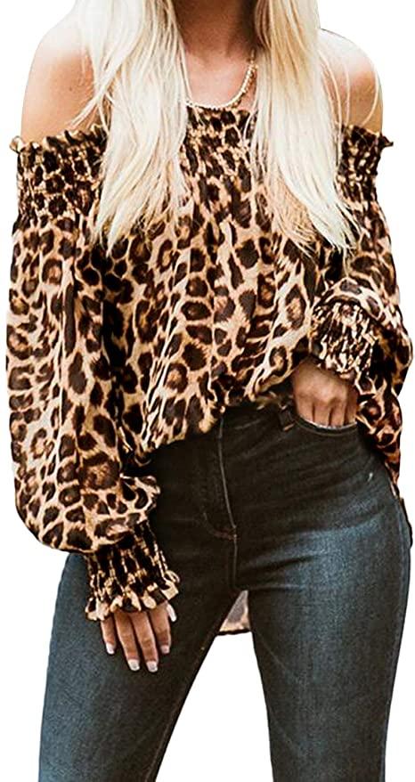 Camicia Donna Spalle Scoperte Leopardato
