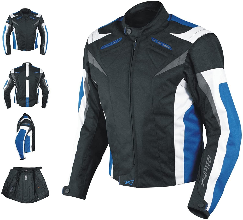 Giacca Tessuto Moto Protezioni CE Manica Staccabile Gilet Termico Blu