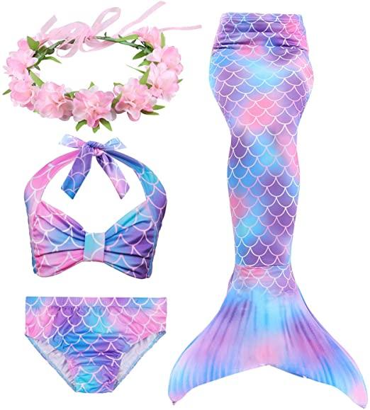 Costume Da Bagno Per Bambina Con Coda Da Sirena