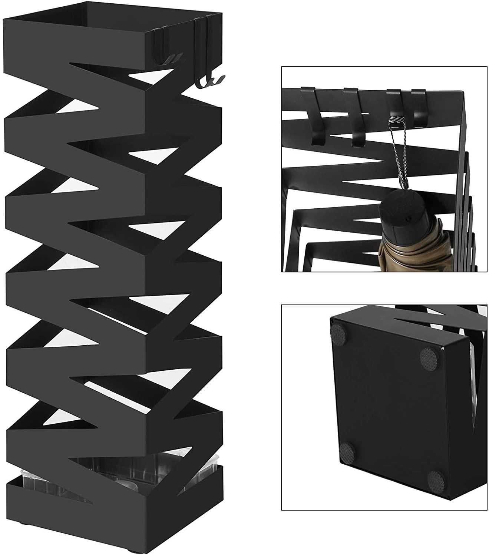 Porta Ombrelli In Metallo, 15,5 X 15,5 X 49 Cm, Nero