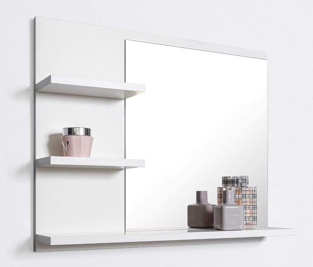 DOMTECH – Specchio Da Bagno Con Mensola Bianco